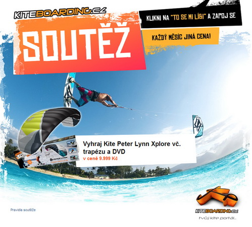 soutěž o kite Peter Lynn Xplore vč. kite trapéz a kiting DVD