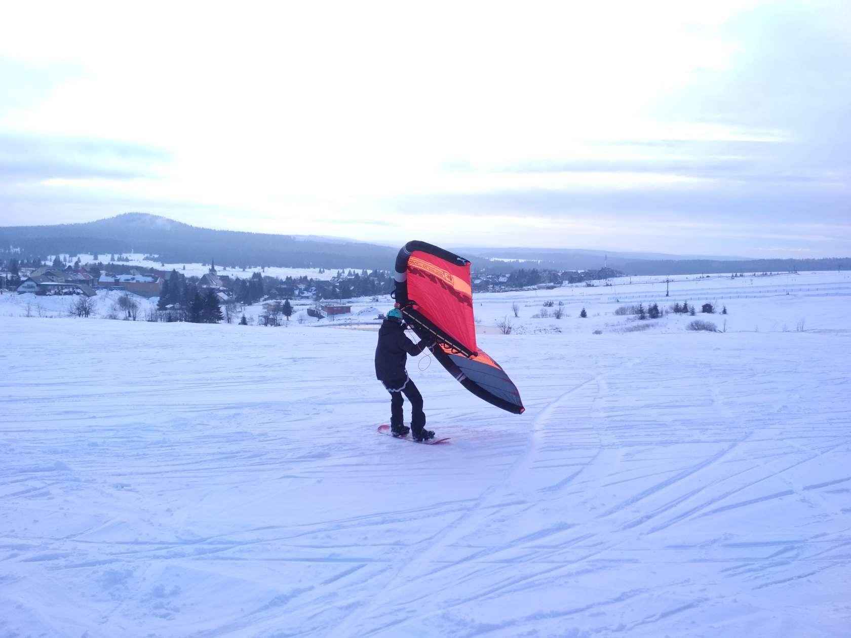Snowkiting - Snowkite - Wingsurf session na Božáku