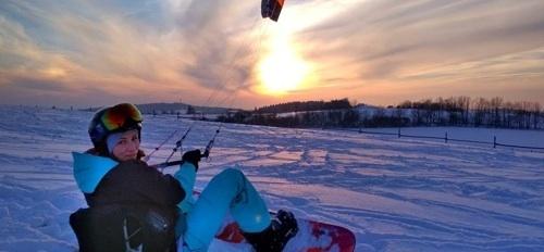 jak vybrat kite kurz a ušetřit - první jízdy na sněhu