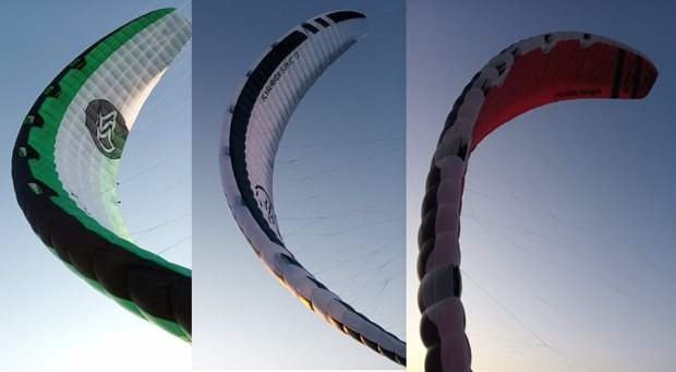 Kite Flysurfer Sonic3 comparation with Sonic2 and Soul - profile thickness