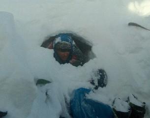 snowkite zahrab - ráno vylézt ven