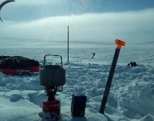 snowkite záhrab - vaření na kite spotu