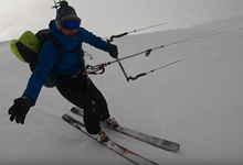 Unexpected Snowkite ride - video