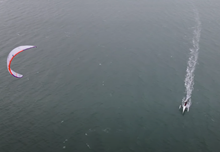 Trimaran kite boat testing by Sam Light