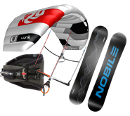 Set kite Peter Lynn Lynx V5 + snowkiteboard NOBILE NHP 2020
